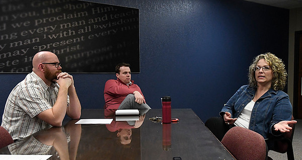 Oklahoma Bible Academy teachers, (left to right) Ryan Reese, Clay Henderson and Janie Koch, during an interview Friday February 17, 2017. (Billy Hefton / Enid News & Eagle)