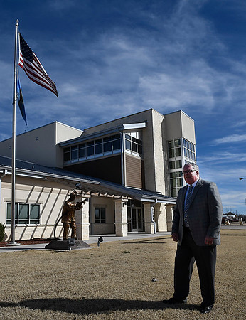 Woodward city manager, Alan Riffel, stands in front of the new central fire station in Woodward. (Billy Hefton / Enid News & Eagle)