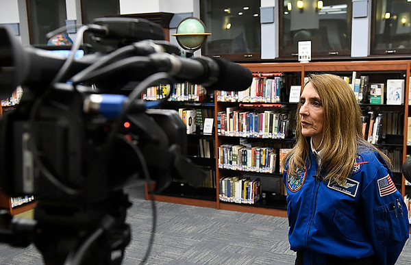 Dr. Nancy Currie-Gregg does an interview following a dedication ceremony naming the observatory on top of Enid HIgh School the Dr. Nancy Currie-Gregg Observatory Tuesday February 28, 2017. (Billy Hefton / Enid News & Eagle)