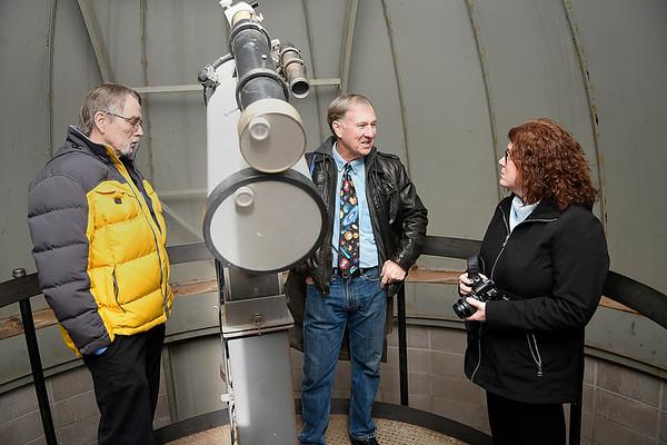 Doug Hugaboom (left) and Rick Hockmeyer visit with Lynda Ozan, Architectural Historian/National Register Program Coordinator, inside the observatory at Enid High School during a tour Thursday Febraury 2, 2017. (Billy Hefton / Enid News & Eagle)