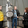Doug Hugaboom (left) and Rick Hockmeyer visit with Lynda Ozan, Architectural Historian/National Register Program Coordinator, inside the observatory at Enid High School during a tour Thursday Febraury 2, 2017. (Billy Hefton / Enid News & Eagle)
