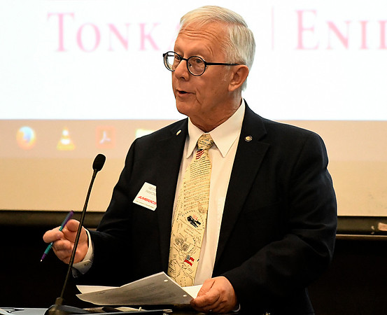 George Pankonin, candidate for Enid city council ward 6, addresses the Noon AMBUCS Friday February 10, 2017 at the NOC Gantz Center. (Billy Hefton / Enid News & Eagle)
