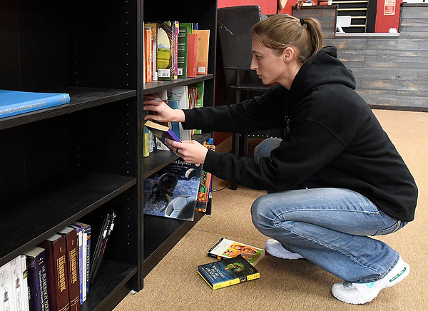 Co-owner Coral Simon of A New Chapter bookstore shelves books Monday February 5, 2018. (Billy Hefton / Enid News & Eagle)