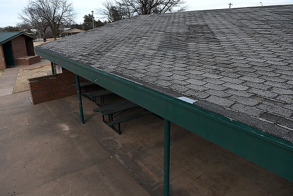 Roof of the large shelter on the southside of Meadowlake Park needs to be replaced.  (Billy Hefton / Enid News & Eagle)