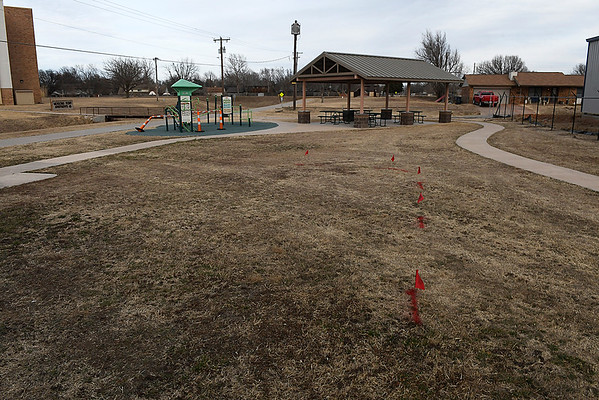 The park board is encouraging the addition of playground equipment at the Cleveland Trailhead. (Billy Hefton / Enid News & Eagle)