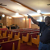 Rev. Norris Williams, Pastor Grayson Missionary Baptist Church, gestures during an interview Saturday Feb. 23, 2019 as he talks about the new construction planned for the church. (Billy Hefton / Enid news & Eagle)