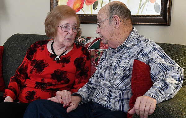 Norma Roy, 95 of Enid and Harry E. Nash, Jr., 79 of Ione, Calif., during an interview. The brother and sister met for the first time Thursday Feb. 21, 2019 after their children found each other through DNA research. (Billy Hefton / Enid News & Eagle)