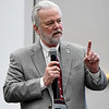 Craig Knutson, CEO of the Potts Family Foundation, addresses a public forum on mental health at Autry Technology Center Monday February 11, 2019. (Billy Hefton / Enid News & Eagle)