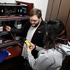 Students Jasmine Cruz and Levi Miller work with an instrumentation process control trainer in the robotics classroom at Autry Techno;ogy Center. (Billy Hefton / Enid News & Eagle)