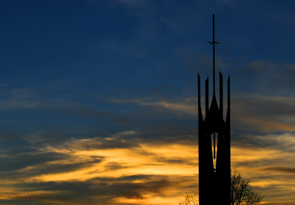 The steeple at Central Christian Church is silhouetted at sunset Saturday, Fenruary 1, 2020. (Billy Hefton / Enid News & Eagle)