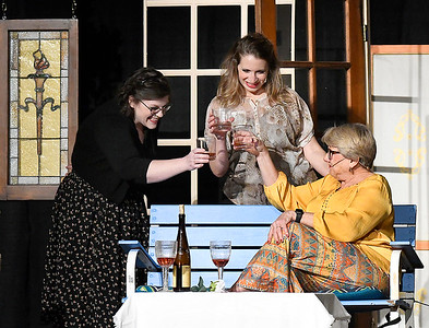 """(left to right) April Swinnea-Ogg, Katie Pearce and Janet Jones rehearse a scene of Gaslight Theater's production of """"Savannah Sipping Socity"""" Thursday, February 11, 2021 at the Stride Bank Center. (Billy Hefton / Enid News & Eagle)"""