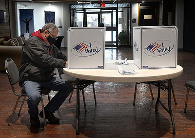 Matt Holmes cast his vote in the city commissioner election Tuesday, February 9, 2021 at Westminster Church. (Billy Hefton / Enid News & Eagle)