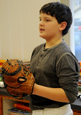 Spencer Moore portrays Lou Gehrig Thursday at Monroe Elementary School. (Staff Photo by BONNIE VCULEK)