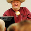 Milt Luckinbill sports his big hat as he welcomes Enid Noon AMBUCS to their weekly luncheon meeting Friday, Jan. 25, 2013. Members who help recruit three or more new members each year win the honor of eating steak at the final Friday luncheon each month. (Staff Photo by BONNIE VCULEK)