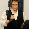 Owen Killam portrays Benjamin Franklin during Desiree Highberger's fifth grade class re-enactments Thursday at Monroe Elementary School. (Staff Photo by BONNIE VCULEK)