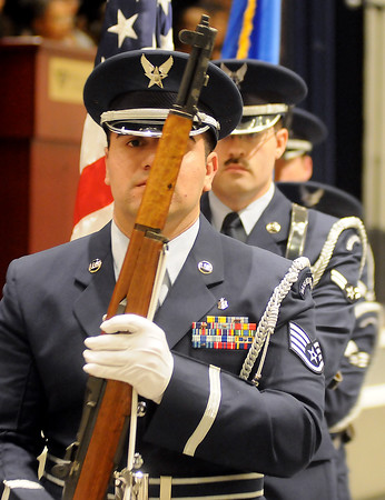 The Vance Air Force Base Silver Talon Honor Guard post the Colors Sunday during the 25th annual Dr. Martin Luther King, Jr. Holiday Celebration at Convention Hall. (Staff Photo by BONNIE VCULEK)