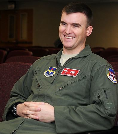 2nd Lt. Jonathan Payne smiles as he recalls different phases of his first five months of pilot training at Vance Air Force Base. Class 13-13 are now piloting aircraft in different formation maneuvers during their final flights with their instructor pilots. (Staff Photo by BONNIE VCULEK)