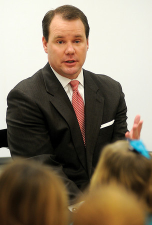 Oklahoma Lt. Gov. Todd Lamb answers a question at McKinley Elementary School as he visits with fifth grade students at his former alma mater Friday, Jan. 25, 2013. Lt. Gov. Lamb chairs the new school security panel. (Staff Photo by BONNIE VCULEK)
