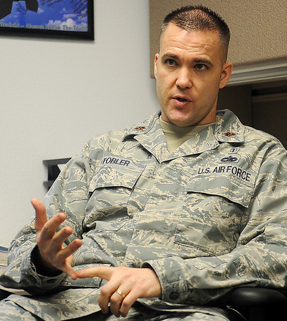 Major Samuel Tobler discusses the importance of the Mental Health Services offered to the military personnel at Vance Air Force Base Friday, Jan. 11. (Staff Photo by BONNIE VCULEK)