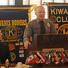 Randall Wilson, Enid Police Officer of the Year, speaks to Enid Kiwanis Club members and guests during a luncheon at the Best Western Dutch Pantry Wednesday, Jan. 30, 2013. (Staff Photo by BONNIE VCULEK)