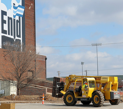 Downtown Repairs continue near the Enid Convention Hall and Event Center Wednesday, Jan. 30, 2013. (Staff Photo by BONNIE VCULEK)