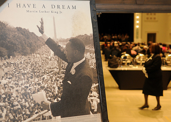 """A framed print of Dr. Martin Luther King, Jr.'s """"I Have A Dream"""" speech appears at the entrance to the Convention Hall Grand Ballroom Sunday as the Holiday Commission hosts the 25th annual Dr. Martin Luther King, Jr. Holiday Celebration. (Staff Photo by BONNIE VCULEK)"""