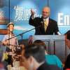 Brent Kisling, executive director for Enid Regional Development Alliance, introduces guests during the ERDA quarterly luncheon at Oakwood Country Club Thursday, Jan. 23, 2014. (Staff Photo by BONNIE VCULEK)