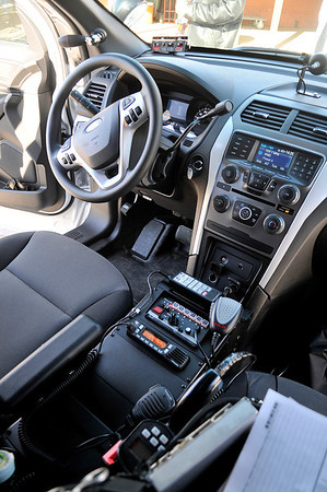 Inside one of ten 2014 Ford Police Interceptors purschased by the Enid Police Department. Six of the vehicles were put into service Wednesday with the other four scheduled to be delivered in the next two weeks. (Staff Photo by BILLY HEFTON)