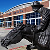 "The Harold Holden sculpture ""Boomer"" has been placed in front of the Enid Event Center. (Staff Photo by BILLY HEFTON)"