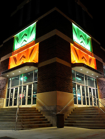 Decorative lights on the southeast corner of the Enid Event Center. (Staff Photo by BILLY HEFTON)