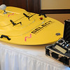 Select Energy Services employs the use of remote control boats to determine the amount of water in area lakes that may be available as a water source for the oil field. One of the GPS boats was on display at the Enid Regional Development Alliance quarterly luncheon at Oakwood Country Club Thursday, Jan. 23, 2014. (Staff Photo by BONNIE VCULEK)