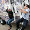 Amarrya Edwards and Jared Lara use a pulley system as they race during a Science Matters activity on the Oklahoma Museum Network science bus at Coolidge Elementary School Tuesday, Jan. 14, 2014. Students in grades 3-5 will participate in the 2-day events. (Staff Photo by BONNIE VCULEK)