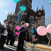 Children from St. Joseph Catholic School release their balloons in front of St. Francis Xavier Catholic Church during National Catholic Schools' Week festivities Wednesday, Jan. 29, 2014. The owner of the balloon that travels the farthest and is returned to the school will receive a prize. (Staff Photo by BONNIE VCULEK)