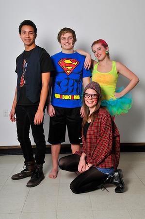 (Left to right) Taylor Scott, Michael Johnson, Katherine Jones and Rachel Meyer (kneeling) of the Gaslight Teen production of Godspell. (Staff Photo by BILLY HEFTON)
