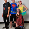 (Left to right) Taylor Scott, Michael Johnson, Katherine Jones and Rachel Meyer (kneeling) of the Gaslight Teen production of Godspell. (Staff Photo by BILLY HEFTON)