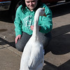 Tiffany Cutler pets a goose at Meadowlake Park Wednesday January 4, 2017. (Billy Hefton / Enid News & Eagle)