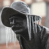 "Icicles hang fron the Harold Holden sculpture ""Boomer"" Sunday January 15, 2017. (Billy Hefton / Enid News & Eagle)"