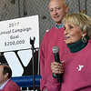 Gini Zaloudek gives a pep talk to end the kickoff luncheon for the YMCA's annual fundraising campaign Thursday January 26, 2017 at the Denny Price Family YMCA. (Billy Hefton / Enid News & Eagle)