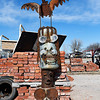 A metal totem pole sculpture by Kelly Kurtz at Antiques-n-Things in Lahoma Saturday january 28, 2017. (Billy Hefton / Enid News & Eagle)