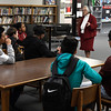 Irene Asai, assistant district attorney for Garfield County, talks to students during Career Day at Longfellow Middle School Friday January 12, 2018. (Billy Hefton / Enid News & Eagle)