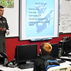 Capt. Joseph Basala talks to students during Career Day at Longfellow Middle School Friday January 12, 2018. (Billy Hefton / Enid News & Eagle)