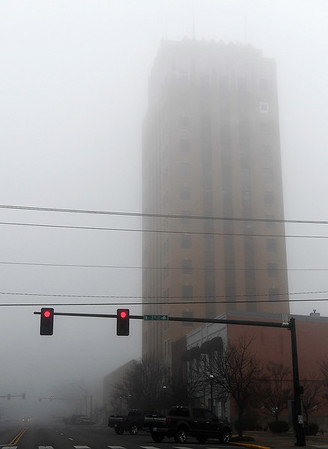 Fog obscures Broadway Tower in downtown Enid Wednesday January 16, 2019. (Billy Hefton / Enid News & Eagle)