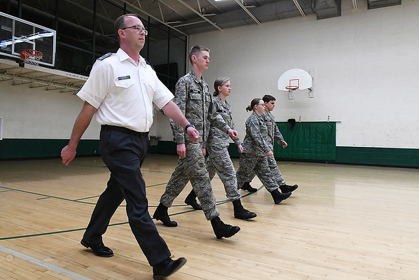 1st Lt. Doug Griffith ileads Civil Air Patrol cadets during drillsMonday, January 13, 2019 at Emerson Middle School. (Billy Hefton / Enid News & Eagle)