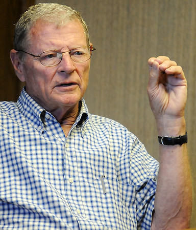 James M. Inhofe, U.S. Senator of Oklahoma, answers questions during an editorial meeting at the Enid News and Eagle Friday, July 19, 2013. (Staff Photo by BONNIE VCULEK)