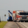Traffic was diverted to one lane on U.S. 81 North as Enid Fire Department and Enid Police Department assist at the scene of a roll-over accident near the entrance to the Grayridge residential area early Wednesday, July 24, 2013. According to an initial report, the driver of a box truck was falling asleep behind the wheel, over-corrected, and rolled the vehicle. Occupants of the box truck kicked out the windshield of the truck and crawled to safety. (Staff Photo by BONNIE VCULEK)