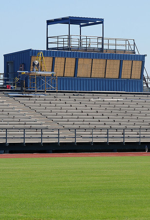 Construction continues on the new Chisholm High School press box at Longhorn Field Wednesday, July 24, 2013. (Staff Photo by BONNIE VCULEK)