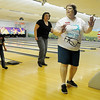 Deborah Ruthenberg (front, right) leads dancers during the National Dance Day at Oakwood Bowl Saturday, July 27, 2013. Ruthenberg organized the video-taping event. (Staff Photo by BONNIE VCULEK)