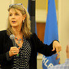 Elaine Dodd, the Oklahoma Bankers Association Fraud Division vice-president, gives tips for fighting identity theft during the Rotary luncheon in the Hiland Towers ballroom Monday, July 1, 2013. (Staff Photo by BONNIE VCULEK)
