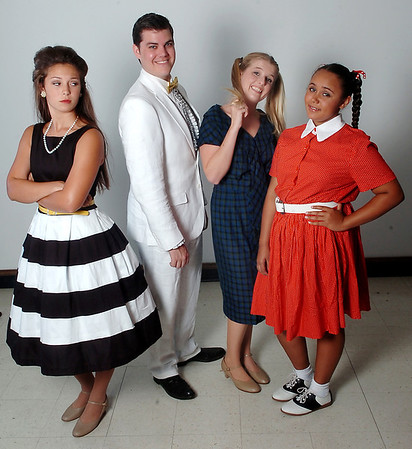 "Ivey Dyson, Jonathan Suttmiller, Katherine Jones and Jayden Dillon of the Gaslight Theater production of ""Hairspray"". (Staff Photo by BILLY HEFTON)"