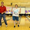 Kevin Hassler, Deborah Ruthenberg and Jake Hassler concentrate as they dance the morning away on National Dance Day at Oakwood Bowl. Ruthenberg (center) organized the video-taping event. (Staff Photo by BONNIE VCULEK)